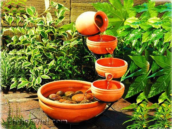 Đài phun nước mini – nét sống động cho khu vườn